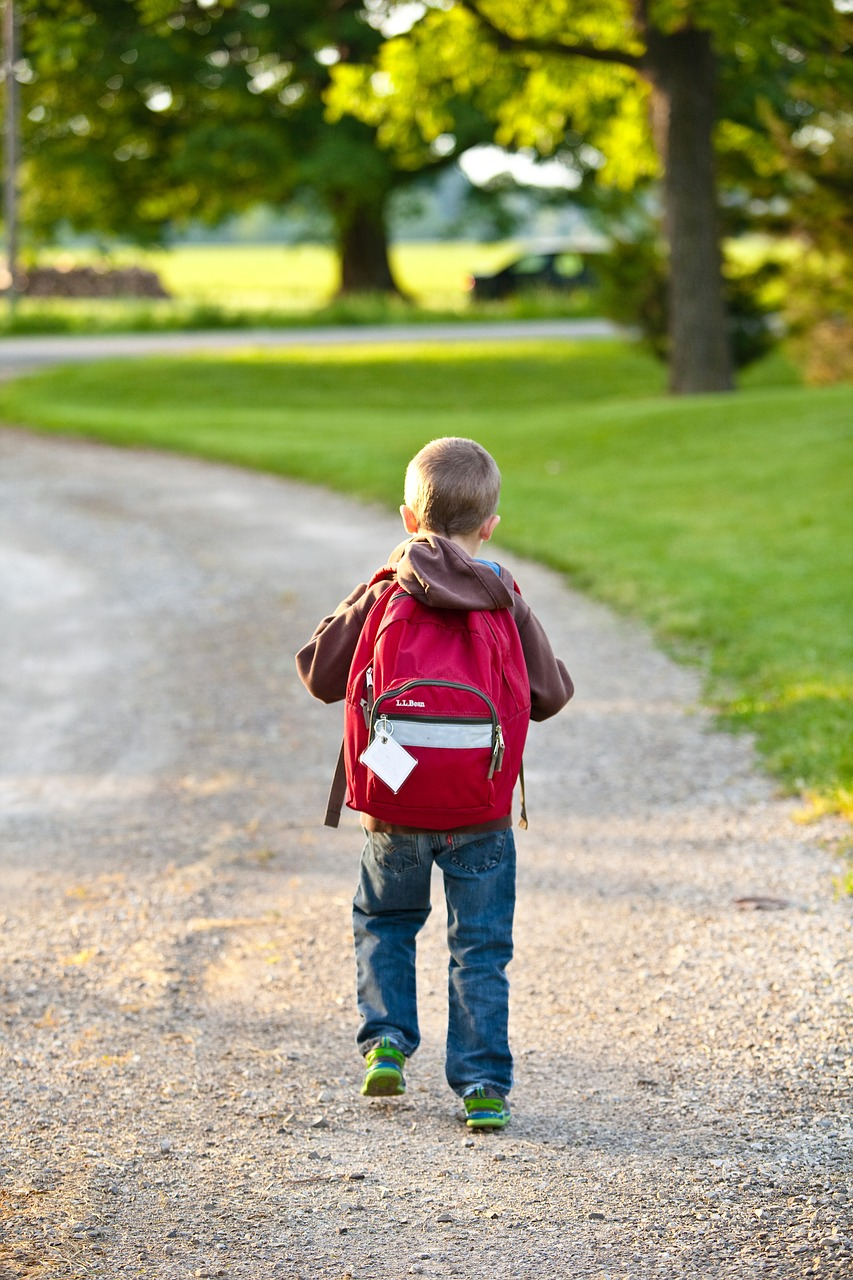 A photo of a young boy walking to school, carrying a red backpack