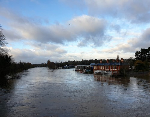 The River Wye in Hereford flooded during February 2020